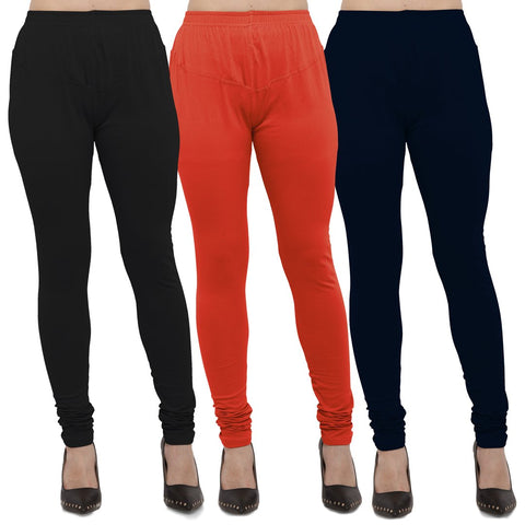 Black,Carrot Red And Navy Blue Color Cotton Lycra Leggings - LEG-CMB-BLK-CRED-NBL