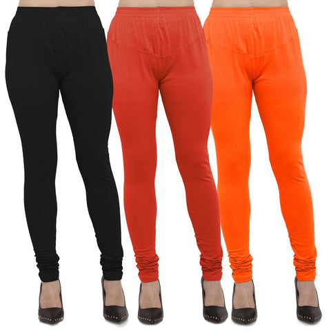 Black,Carrot Red And Orange Color Cotton Lycra Leggings - LEG-CMB-BLK-CRED-ORN