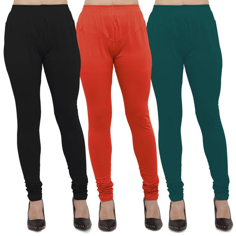 Black,Carrot Red And Peacock Blue Color Cotton Lycra Leggings - LEG-CMB-BLK-CRED-PBLU