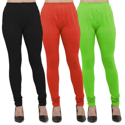 Black,Carrot Red And Parrot Green Color Cotton Lycra Leggings - LEG-CMB-BLK-CRED-PGRN