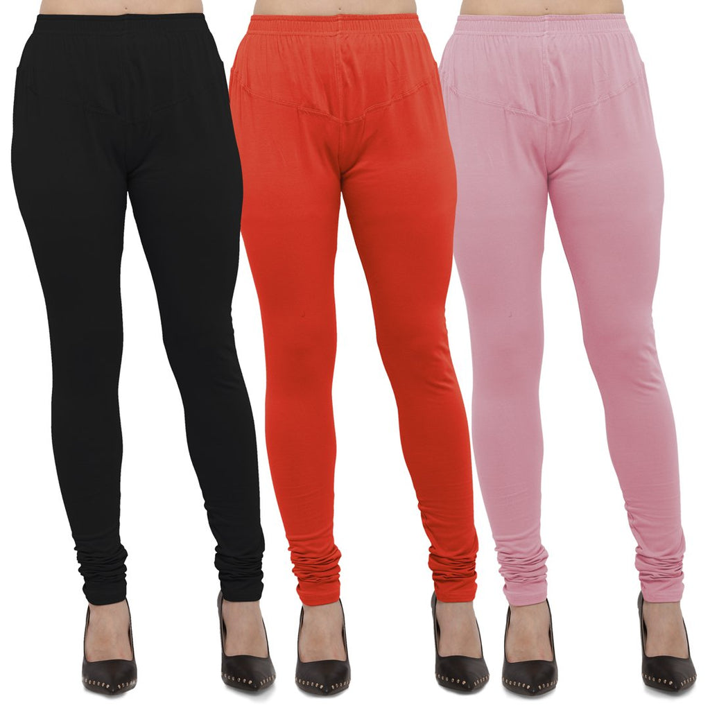 Buy Black,Carrot Red And Pink Cotton Lycra Leggings