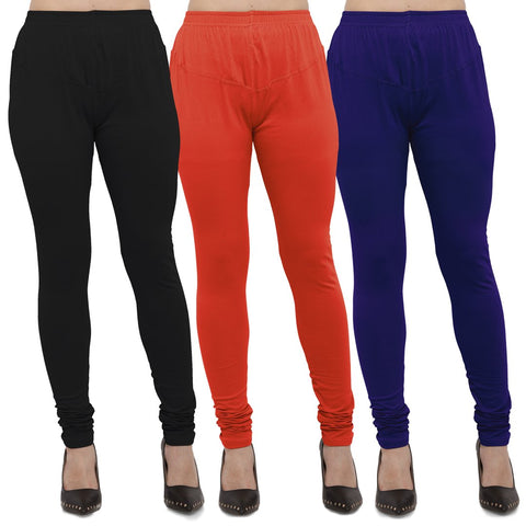 Black,Carrot Red And Royal Blue Color Cotton Lycra Leggings - LEG-CMB-BLK-CRED-RBL