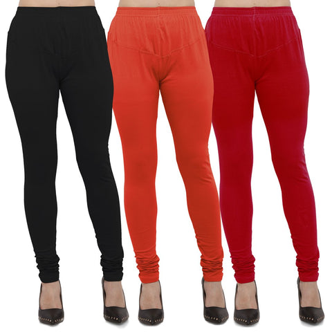 Black,Carrot Red And Red Color Cotton Lycra Leggings - LEG-CMB-BLK-CRED-RED