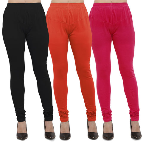 Black,Carrot Red And Rani Color Cotton Lycra Leggings - LEG-CMB-BLK-CRED-RNI