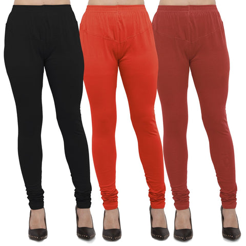 Black,Carrot Red And Rust Color Cotton Lycra Leggings - LEG-CMB-BLK-CRED-RST