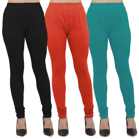 Black,Carrot Red And Turquoise Color Cotton Lycra Leggings - LEG-CMB-BLK-CRED-TUR