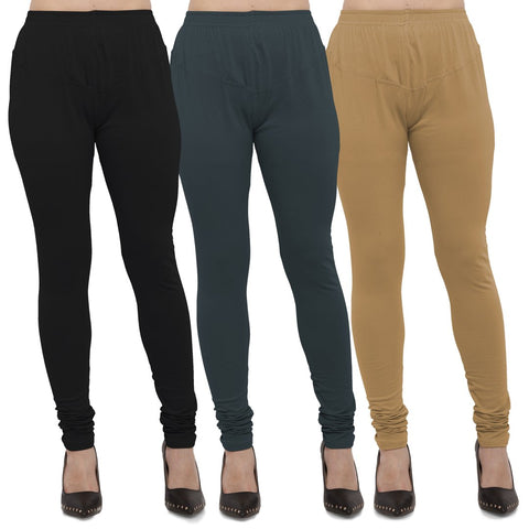 Black,Dark Grey And Gold Color Cotton Lycra Leggings - LEG-CMB-BLK-DGRY-GLD
