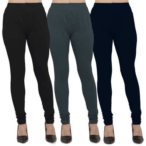 Black,Dark Grey And Navy Blue Color Cotton Lycra Leggings - LEG-CMB-BLK-DGRY-NBL