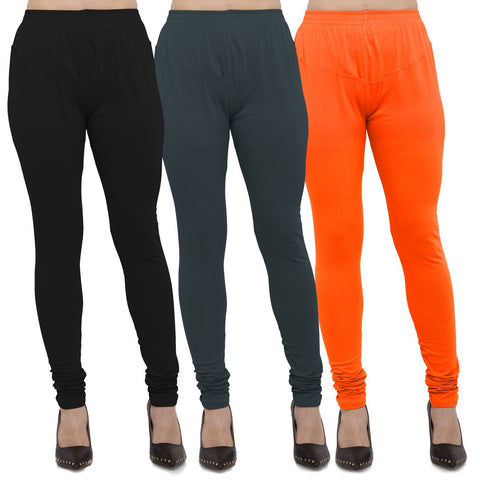 Black,Dark Grey And Orange Color Cotton Lycra Leggings - LEG-CMB-BLK-DGRY-ORN