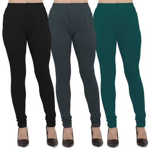 Black,Dark Grey And Peacock Blue Color Cotton Lycra Leggings - LEG-CMB-BLK-DGRY-PBLU