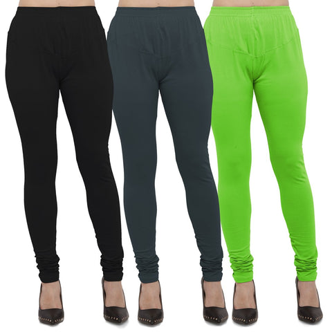 Black,Dark Grey And Parrot Green Color Cotton Lycra Leggings - LEG-CMB-BLK-DGRY-PGRN