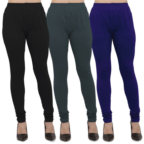 Black,Dark Grey And Royal Blue Color Cotton Lycra Leggings - LEG-CMB-BLK-DGRY-RBL