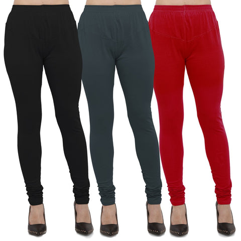 Black,Dark Grey And Red Color Cotton Lycra Leggings - LEG-CMB-BLK-DGRY-RED