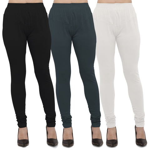 Black,Dark Grey And White Color Cotton Lycra Leggings - LEG-CMB-BLK-DGRY-WHT