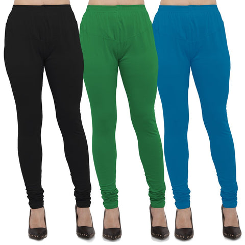 Black,Green And Aqua Color Cotton Lycra Leggings - LEG-CMB-BLK-GRN-AQU