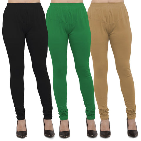 Black,Green And Gold Color Cotton Lycra Leggings - LEG-CMB-BLK-GRN-GLD