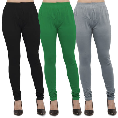 Black,Green And Light Grey Color Cotton Lycra Leggings - LEG-CMB-BLK-GRN-LGRY