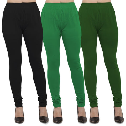 Black,Green And Mehendi Color Cotton Lycra Leggings - LEG-CMB-BLK-GRN-MHD