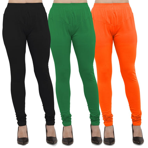 Black,Green And Orange Color Cotton Lycra Leggings - LEG-CMB-BLK-GRN-ORN