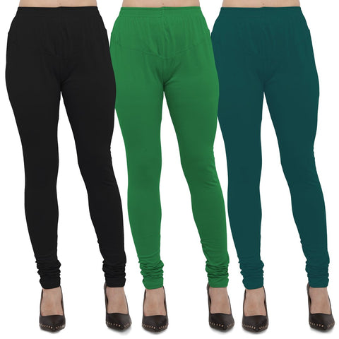 Black,Green And Peacock Blue Color Cotton Lycra Leggings - LEG-CMB-BLK-GRN-PBLU