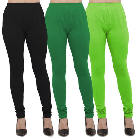 Black,Green And Parrot Green Color Cotton Lycra Leggings - LEG-CMB-BLK-GRN-PGRN