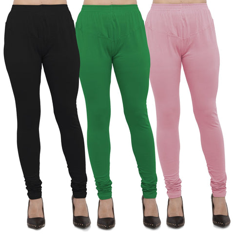 Black,Green And Pink Color Cotton Lycra Leggings - LEG-CMB-BLK-GRN-PNK