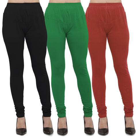 Black,Green And Rust Color Cotton Lycra Leggings - LEG-CMB-BLK-GRN-RST