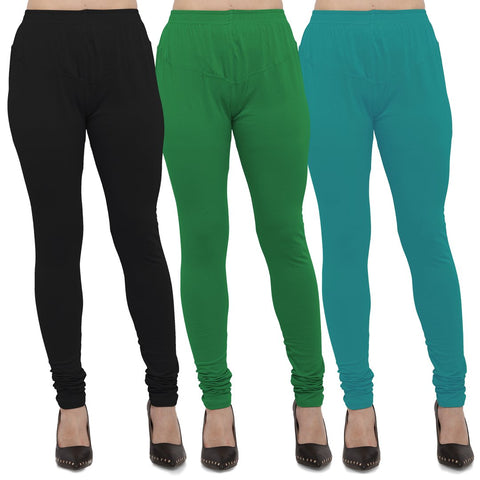 Black,Green And Turquoise Color Cotton Lycra Leggings - LEG-CMB-BLK-GRN-TUR