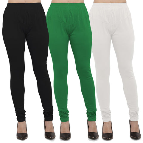 Black,Green And White Color Cotton Lycra Leggings - LEG-CMB-BLK-GRN-WHT