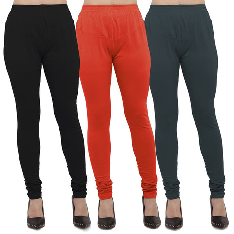 Black,Carrot Red And Dark Grey Color Cotton Lycra Leggings - LEG-CMB-BLK-LGRY-DGRY