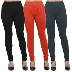 Buy Black,Light Grey And Dark Grey Cotton Lycra Leggings