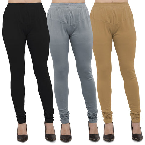 Black,Light Grey And Gold Color Cotton Lycra Leggings - LEG-CMB-BLK-LGRY-GLD