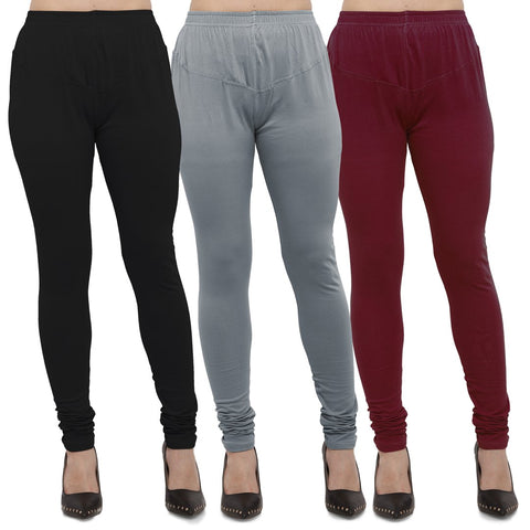 Black,Light Grey And Maroon Color Cotton Lycra Leggings - LEG-CMB-BLK-LGRY-MRN
