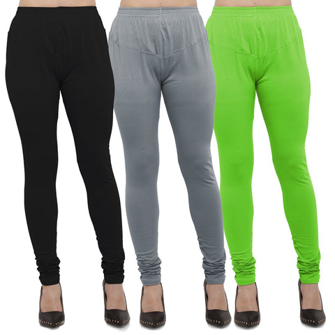 Black,Light Grey And Parrot Green Color Cotton Lycra Leggings - LEG-CMB-BLK-LGRY-PGRN