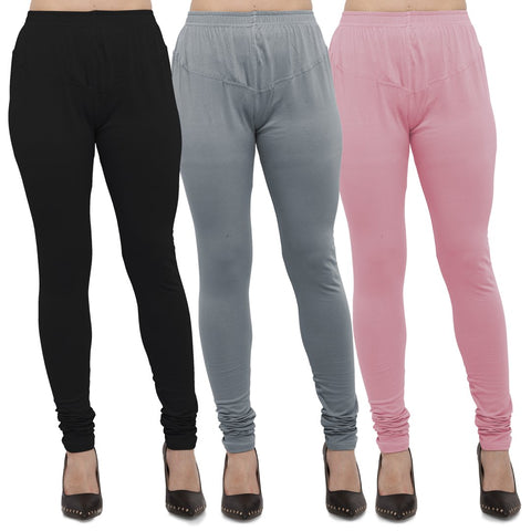 Black,Light Grey And Pink Color Cotton Lycra Leggings - LEG-CMB-BLK-LGRY-PNK