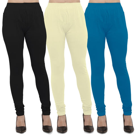 Black,Light Yellow And Aqua Color Cotton Lycra Leggings - LEG-CMB-BLK-LYLW-AQU