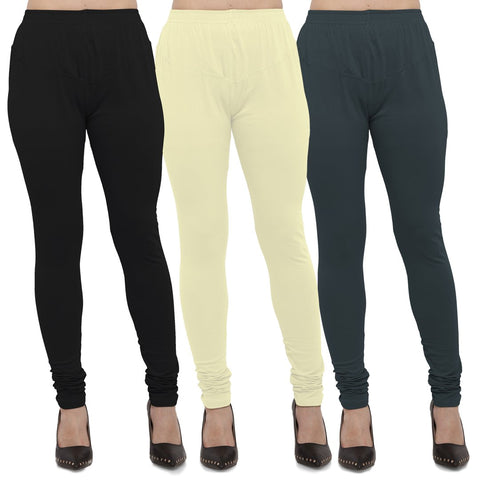 Black,Light Yellow And Dark Grey Color Cotton Lycra Leggings - LEG-CMB-BLK-LYLW-DGRY
