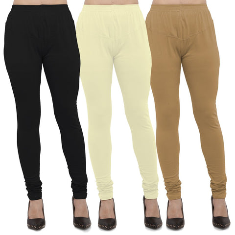 Black,Light Yellow And Gold Color Cotton Lycra Leggings - LEG-CMB-BLK-LYLW-GLD