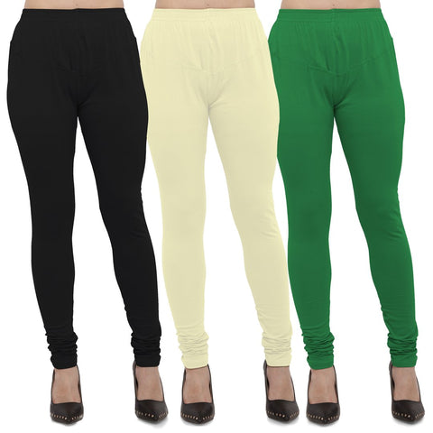 Black,Light Yellow And Green Color Cotton Lycra Leggings - LEG-CMB-BLK-LYLW-GRN