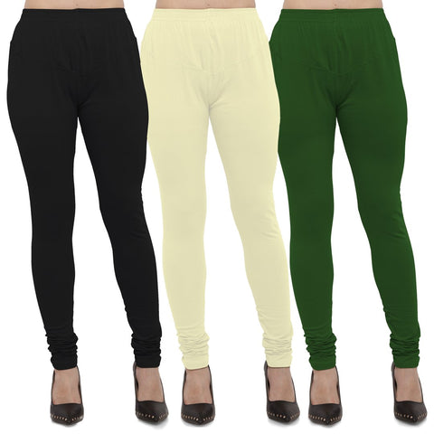 Black,Light Yellow And Mehendi Color Cotton Lycra Leggings - LEG-CMB-BLK-LYLW-MHD
