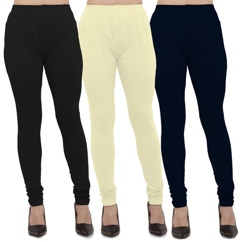 Black,Light Yellow And Navy Blue Color Cotton Lycra Leggings - LEG-CMB-BLK-LYLW-NBL