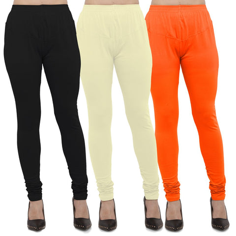 Black,Light Yellow And Orange Color Cotton Lycra Leggings - LEG-CMB-BLK-LYLW-ORN
