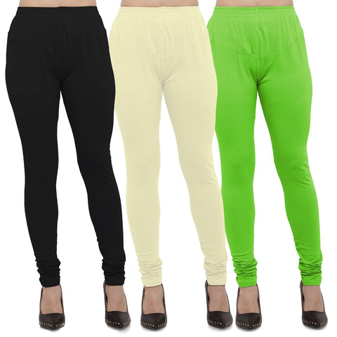 Black,Light Yellow And Parrot Green Color Cotton Lycra Leggings - LEG-CMB-BLK-LYLW-PGRN