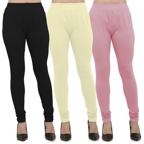 Black,Light Yellow And Pink Color Cotton Lycra Leggings - LEG-CMB-BLK-LYLW-PNK