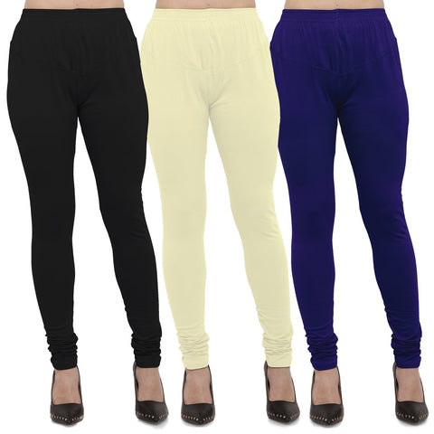 Black,Light Yellow And Royal Blue Color Cotton Lycra Leggings - LEG-CMB-BLK-LYLW-RBL