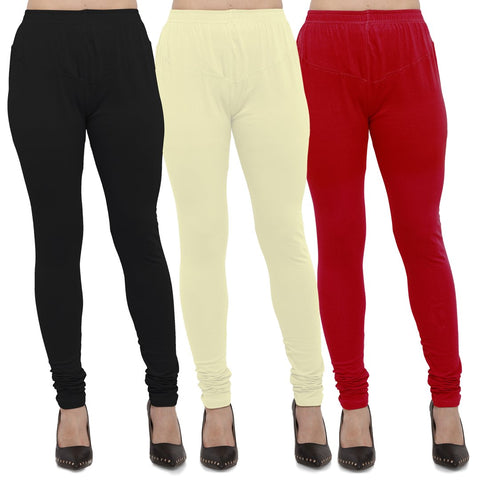 Black,Light Yellow And Red Color Cotton Lycra Leggings - LEG-CMB-BLK-LYLW-RED