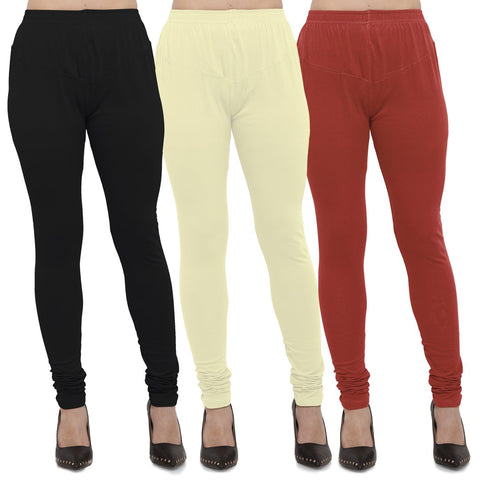 Black,Light Yellow And Rust Color Cotton Lycra Leggings - LEG-CMB-BLK-LYLW-RST