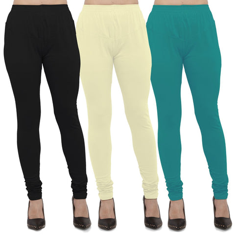 Black,Light Yellow And Turquoise Color Cotton Lycra Leggings - LEG-CMB-BLK-LYLW-TUR
