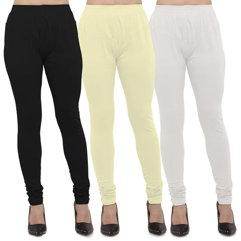 Black,Light Yellow And White Color Cotton Lycra Leggings - LEG-CMB-BLK-LYLW-WHT