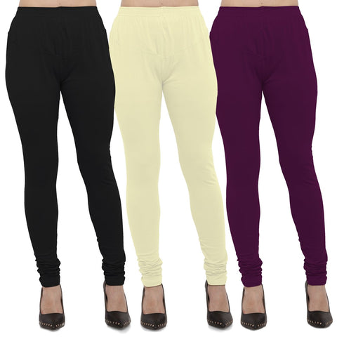 Black,Light Yellow And Wine Color Cotton Lycra Leggings - LEG-CMB-BLK-LYLW-WNE